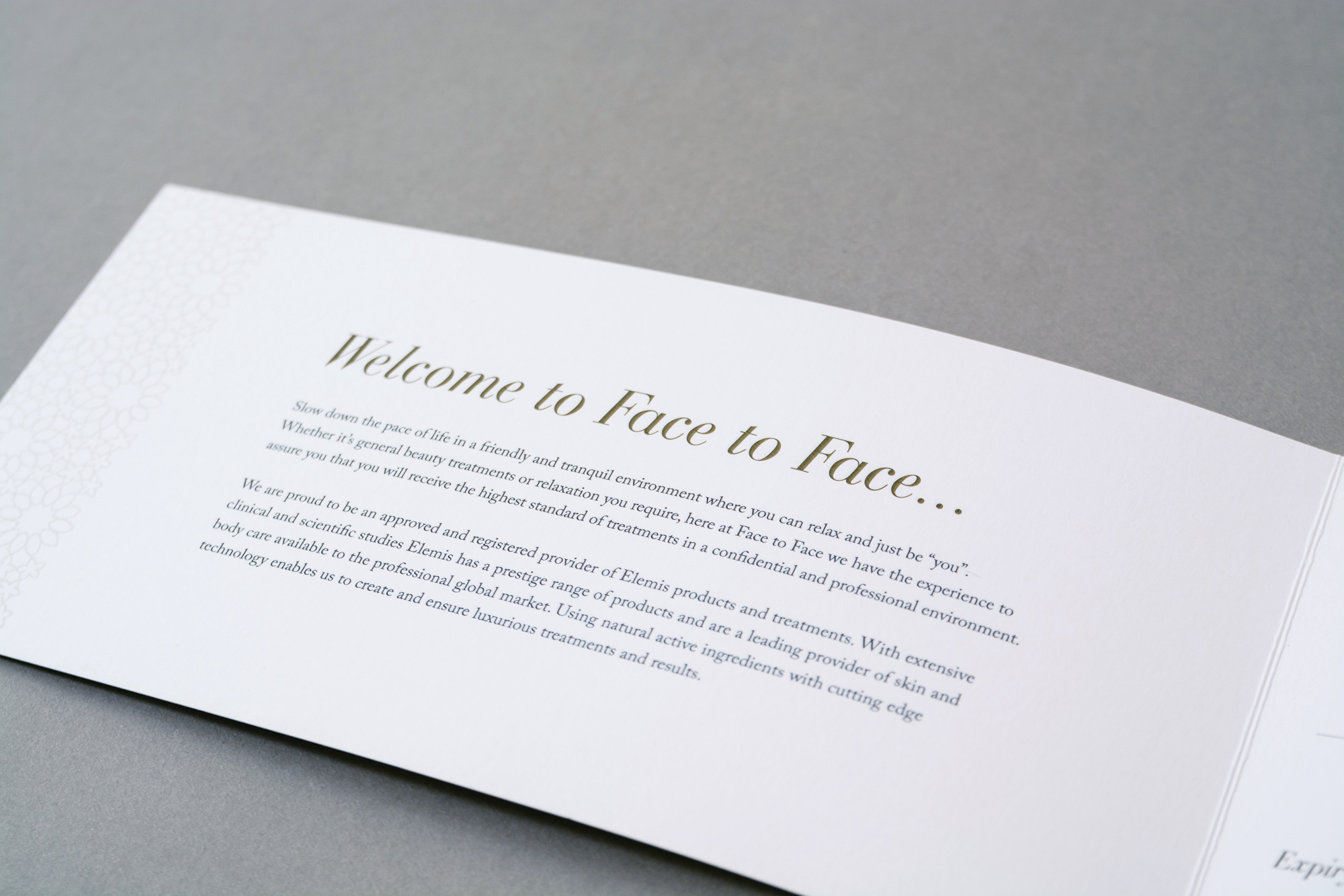 Face to face foil brochure welcome – Geo & Co creative.
